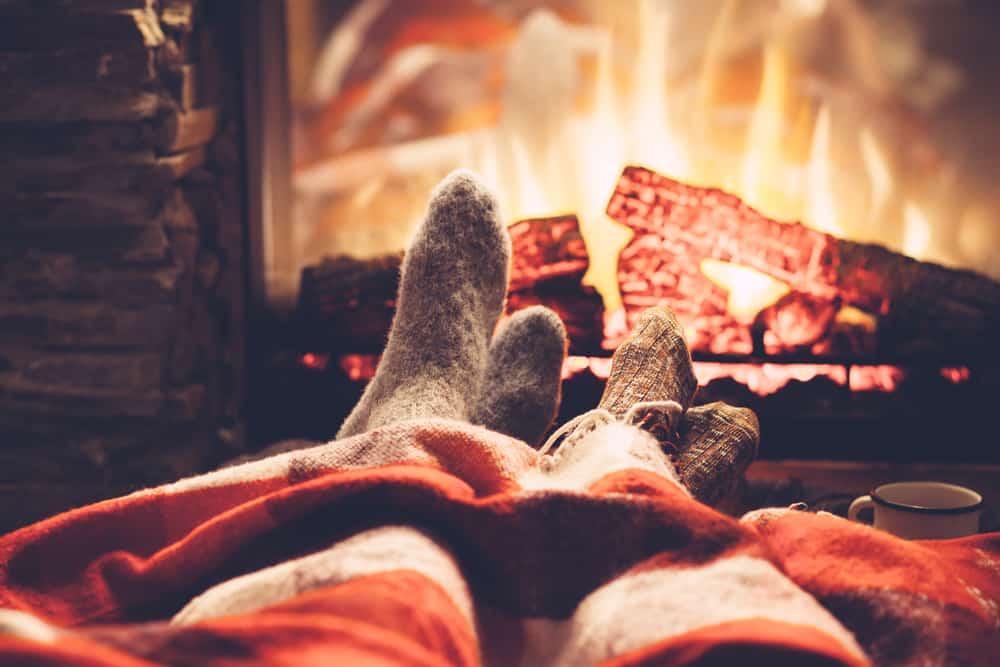 enjoying a fireplace chimney
