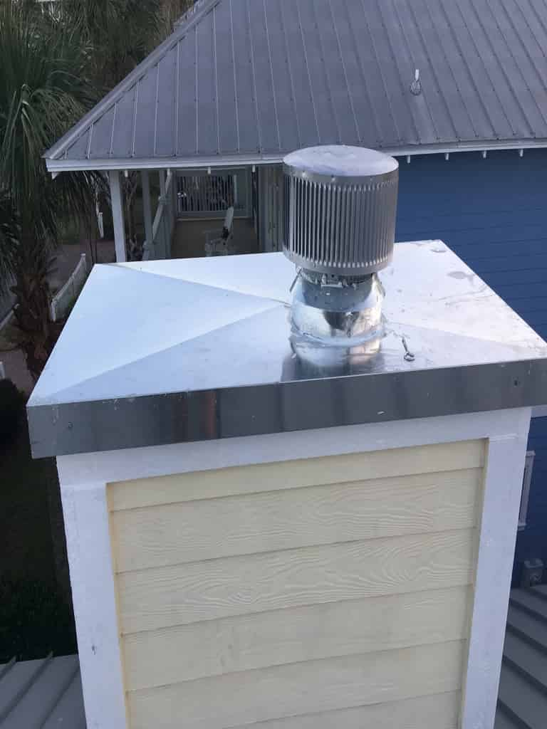 Newly installed chase cover and chimney cap