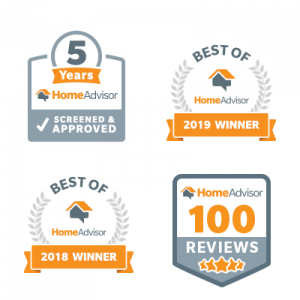All Star's Home Advisor Awards, Best of Home Advisor 2018 and 2019, 100 5-star Reviews, 5 years screened and approved