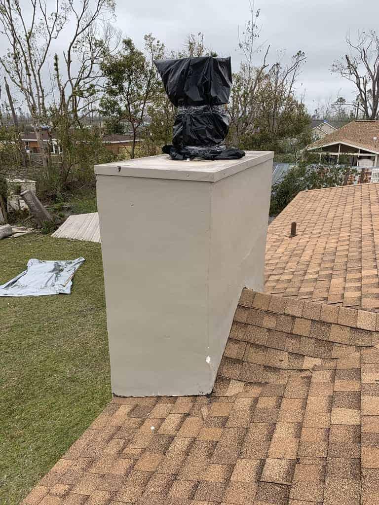 Allstar repairing storm damaged chimney in Cameron